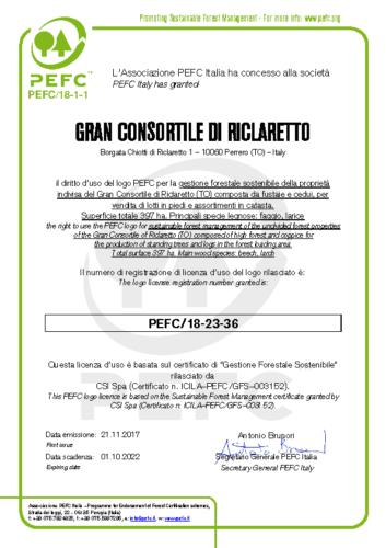 Certificato Licenza GRAN CONSORTILE DI RICLARETTOGFS (1)